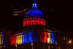 Solidarity With France, San Francisco City Hall, 2015 (Thomas Hawk) Tags: america california cityhall jesuisparis parisattacks parissousattaque prayforparis sf sanfrancisco usa unitedstates unitedstatesofamerica architecture building solidarity terrorism fav10 fav25 fav50