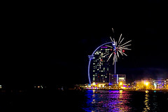 W - Noche de San Juan (Fnikos) Tags: sea water waterfront sky tower beach seashore shore people celebration fireworks light architecture building construction tree palmtree nature night nightview nightshot outdoor