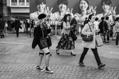 Owns Her Style (burnt dirt) Tags: asian japan tokyo shibuya station streetphotography documentary candid portrait fujifilm xt1 bw blackandwhite laugh smile cute sexy latina young girl woman japanese korean thai dress skirt shorts jeans jacket leather pants boots heels stilettos bra stockings tights yogapants leggings couple lovers friends longhair shorthair ponytail cellphone glasses sunglasses blonde brunette redhead tattoo model train bus busstation metro city town downtown sidewalk pretty beautiful selfie fashion pregnant sweater people person costume cosplay boobs