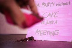 A party without cake is just a meeting. (Gudzwi) Tags: schild karte card pink hand kuchen kuchenkrümel crumb cakecrumb krümel buchstaben letters ausgeschnitten cutout gemalt painted blur blurry unschärfe sos smileonsaturday muffin holding humanhands still stilllifephotography stillleben stilllife cake quote text spruch crazytuesdaytheme ctt 7dwf handmade handgemacht 7dwftuesdaysctthandmade