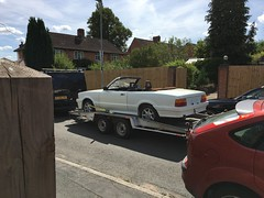 Topless Tina with a Towbar (stevenbrandist) Tags: fordcortina trailer fordtransit white softtop convertible