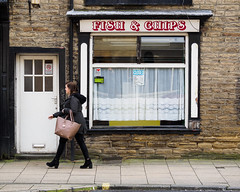 Sowerby Bridge 009 (Peter.Bartlett) Tags: bag shopfront window unitedkingdom people facade doorway westyorkshire colour peterbartlett woman urban walking candid uk m43 microfourthirds urbanarte shopwindow streetphotography sign lunaphoto olympusomdem1 door sowerbybridge england gb