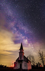 Church and the Milky Way (Notkalvin) Tags: caseville michigan thumb remote nightphotography stars milkyway lookingup theheavens church whitechurch galaxy astrophotography astronomy longexposure fisheye 14mm rokinon canon nopeople nature