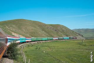 Passenger train No:21. Erlian (二连; Èrlián) - Ulaanbaatar. Near railway station Khonkhor.