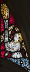 Warwick, St Mary's church, Beauchamp Chapel window tracery (Jules & Jenny) Tags: warwick stainedglasswindow stmaryschurch 15thcentury angelmusicians prudde