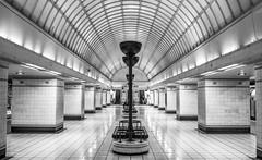 Gant Hill subway station (EricMakPhotography) Tags: blackwhite tunnel train