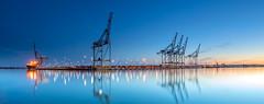 Dockside Panorama (nicklucas2) Tags: port docks southampton magazinelane crane container ship reflection water panorama