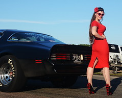 Holly_9194 (Fast an' Bulbous) Tags: classic american car vehicle muscle automobile pontiac transam girl woman hot sexy chick babe red wiggle dress high heels stockings nylons people outdoor sky santa pod nikon
