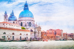 The Salute - Textured (byron bauer) Tags: byronbauer venice italy grand canel water sea boat sky clouds cityscape landscape painterly texture church building harbor lagoon gondola