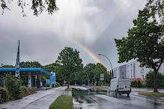 After the rain (21.06.2018) (Siebbi) Tags: rain regen weather wetter meteorologie meteorology sky himmel clouds wolken rainbow regenbogen street strase gasstation tankstelle