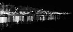 Stockholm by night - Sweden (lotusblancphotography) Tags: sweden suède night nuit reflection water light eau lumières reflets monochrome blackandwhite noiretblanc stockholm