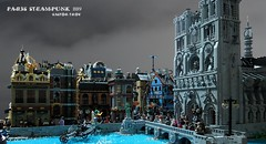 Paris Steampunk 1889  V2 (CASTOR-TROY) Tags: lego paris steampunk steam notre dame seine castor castortroy batman modular dark grey eglise cathedral cathedrale church pont bridge