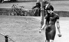 Private moment (John (Thank you for >2 million views)) Tags: 7dwf monochrome bw blancoynegro modelphotoshoot woman pvc tatoos mujer modelo mulier streetphotography candidphotography streetportraits smile castlepark bristol southwestengland