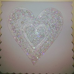 White Sparkle Heart (Daisygirl Art 123) Tags: handmadecards handcraftedcards handmade hearts grey sparkle glitter happy birthday heartshape