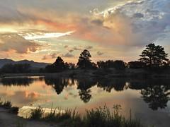 Sunset at the lake... (Jane Lazarz) Tags: kettlelakes janeelizabethlazarz walkingcolorado nikon p900 nikonp900 coloradosprings colorado janelazarz breathtakingcolorado blue mountains sky clouds lake trails hiking walking landscape sunset fierysunset