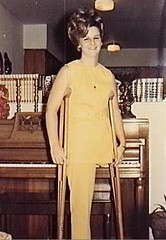 1960s monopede in yellow (jackcast2015) Tags: handicapped disabled disabledwoman cripledwoman onelegwoman oneleggedwoman monopede amputee legamputee crutches crippledwoman