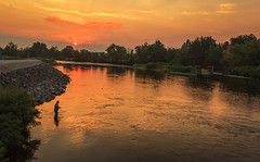 Sunset Fisherman (http://fineartamerica.com/profiles/robert-bales.ht) Tags: emmett facebook freshwater haybales idaho people photo photouploads places states sunsetorsunrise sunrise sunset treasurevalley gemcounty floodingriver payetteriverreflections river scenic water scenicbiway blue americaphotography northamericaphotography pacificnorthwestphotography idahophotography beautiful sensational spectacular scenicriverphotography riverphotography panoramic awesome peaceful surreal sublime magical spiritual inspiring inspirational canonshooter red clouds robertbales fisherman