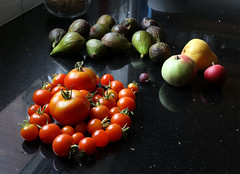 Produce: brought in from the garden (Adrian Midgley) Tags: kitchen garden produce figs apples pear tomatoes gooseberry fruit