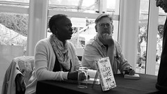 Edinburgh International Book Festival 2018 - Karen Lord and Paul Magrs 01 (byronv2) Tags: edinburgh edinburghfestival festival literature literaryfestival edimbourg charlottesquare newtown peoplewatching candid books livres comics graphicnovels bandedessinee blackandwhite blackwhite bw monochrome eibf eibf2018 edinburghinternationalbookfestival edinburghinternationalbookfestival2018 bookfestival youngadultfiction yafiction yabooks author writer sciencefiction karenlord paulmagrs