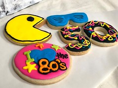 80's cookies (backhomebakerytx) Tags: back home bakery backhomebakery 80s neon cookies decorated heand pacman sunglasses 50 birthday