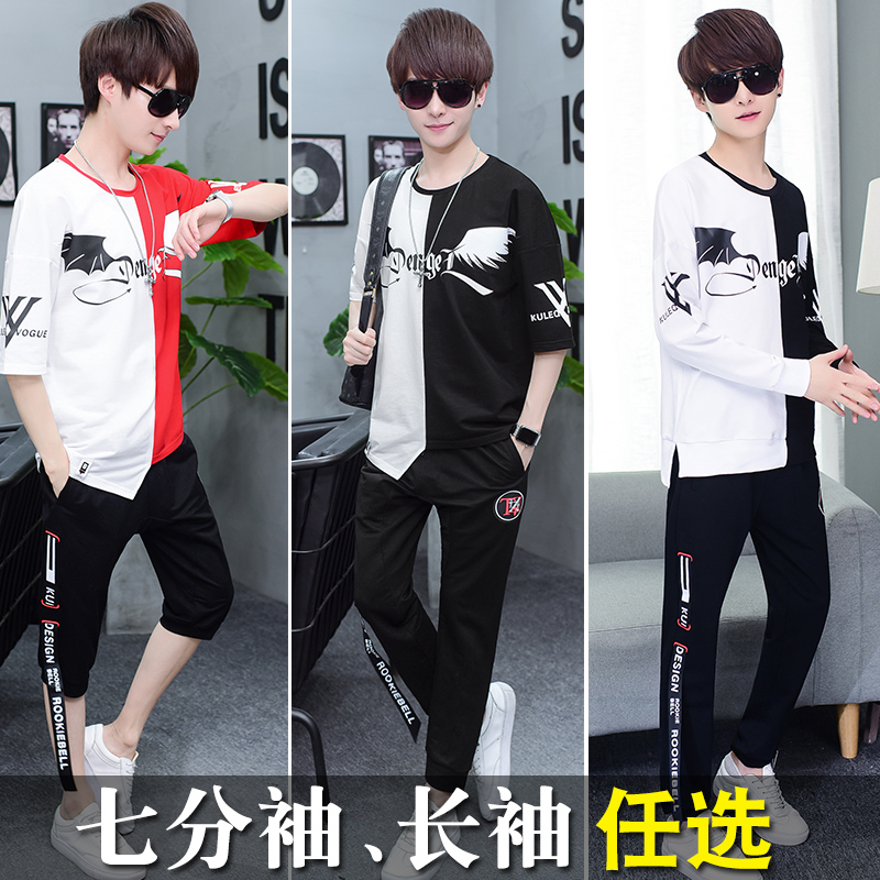 A suit of boys, short sleeves, T-Shirts, Korean fashion, summer wear, leisure, junior high school students, long sleeved clothes, 7