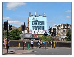 WELCOME TO KENTISH TOWN by AROE (StockCarPete) Tags: streetart londonstreetart urbanart graffiti atg aroe kentishtown london uk londonlettering cyclist bluesky trafficlights welcometokentishtown localident