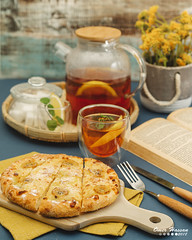 Banana Kaya Pizza 4 (omer.arahman) Tags: coconut eggs pizza jam kaya yellow tea lemon flowers dessert
