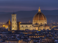 As The Night Draws Near (Wizard CG) Tags: italia toscana tuscany firenze florence cityscape piazzale michelangelo santa croce maria del fiore palazzo vecchio arno river sky cloud colour light epl7 architecture building skyline city world trekker ngc dusk roof night tower water sunset landscape hill window