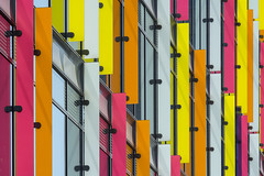 Facade with colors (Jan van der Wolf) Tags: map186458v facade gevel gebouw herhaling repetition perspective perspectief composition colors colours amsterdam rhythm ritme