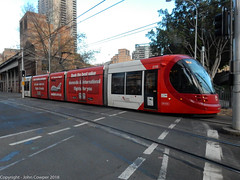 Sydney Light Rail - LRV2116 at the corner of Hay and Darling Drive, Haymarket (john cowper) Tags: sydneylightrail caf urbos3 lrv2116 haystreet darlingdrive haymarket publictransport sydneypublictransport transportfornsw sydney newsouthwales