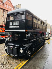 1966 AEC double decker used as a Ghost Tour Bus in Edinburgh hence the dark colour. (Bennydorm) Tags: black street pavement iphone6s luglio julio juillet july lascozia escocia ecosse schottland scotland urban city edinburgh madeinbritain aec publictransport transport dark tourbus doubledecker bus