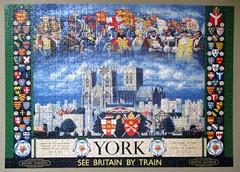 Historic York (pefkosmad) Tags: hobby leisure pastime jigsaw puzzle incomplete missingpiece ravensburger historicyork yorkminster shields history poster england uk britishrailways advertising