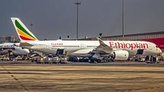 "Ethiopian Airbus A350-900 ET-AVC ""The Pyramids"" Mumbai (VABB/BOM) (Aiel) Tags: ethiopian ethiopianairlines airbus a350 a350900 etavc mumbai canon60d canon24105f4lis thepyramids"