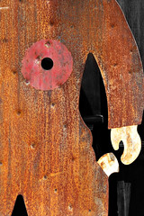 Target Practice (Doris Burfind) Tags: rust heart abstract collectibles antique gun target shoot hole metal cowboy