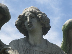 IMG_7505 (Brechtbug) Tags: roof sitting angel clutching sword above mausoleum entrance granite greenwood cemetery statue wings graveyard tomb horn tombstone crypt mausoleums angels swords seated green wood brooklyn new york city 2018 nyc located corner border ave sassafras 08122018