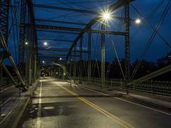 P7301014 (Copy) (pandjt) Tags: binghamtonny binghamton ny travelogue nightphotography ironbridge bridge lenticulartrussbridge trussbridge pedestrianbridge susquehannariver southwashingtonstreetbridge berlinironbridgeco historicbridge parabolicbridge