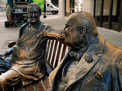 Brothers in arms (Мaistora) Tags: london england unitedkingdom gb britain uk usa america atlantic alliance war ww2 wwii allies friends specialrelationship postwar coldwar politicians sirwinston churchill roosevelt fdr democrat liberal tory conservative leaders world history politics ideology affairs global bronze metal sculpture statue composition dual double diptych duo pair bench wood urban street public bondstreet shopping luxury designer fashion art elite exclusive rich wealthy locals tourists visitors class popular crowded busy pedestrian iconic