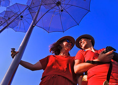 red and blue (mare_maris (very slow)) Tags: women ladies red dress pretty tourists travel umbrella thessaloniki neaparalia greece sunset sunlight people nikon abstract art blue vivid colorful climate day europe european sculpture flying holdup hang modernart imitation iron metal metalic modern monument openair outdoor sky support tourism transparent summer photographer looks goodlooking laziness mood leisure georgezongolopoulos flyingumbrellas tothesky ombrelloni sculturamoderna ledonne vestitirossi cieloblu macedonia parapluies sculpturemoderne lesfemmes robesrouges macédoine regenschirme moderneskulptur frauen rotekleider blauerhimmel lifestyle dslr camera posing laughing fun happiness