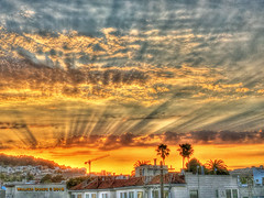 Friday's Sunset was Heavenly, HDR (Walker Dukes) Tags: blue sky orange pink clouds fiery view vista palmtrees light rays black gray crane