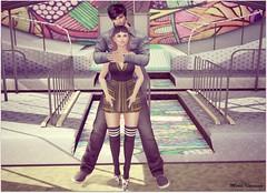 Simone (Moni Carissa) Tags: welovetoblog 7deadlyskin tkd poses couple protection lx dress maria heels socks wicca emberotics fashion the liason collaborative hair elua sephora backdrop city
