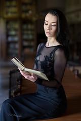 Beautiful reader (piotr_szymanek) Tags: karolina karolinak portrait studio woman milf young skinny face library book reading transparent dress 20f 1k 50f 5k