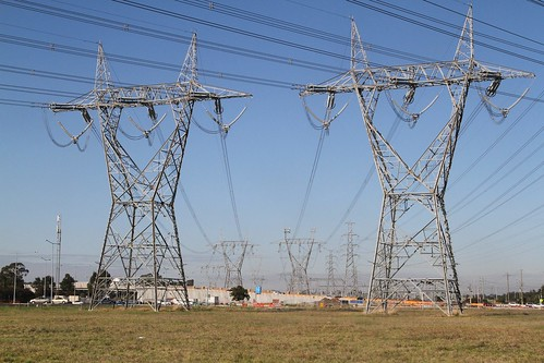 One of the 500 kV transmission lines detours around the
