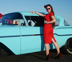 Holly_9240 (Fast an' Bulbous) Tags: classic american car vehicle automobile chevy pinup model girl woman people outdoor red wiggle dress hot sexy long brunette hair chick babe nikon stockings nylons legs