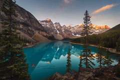 Moraine lake sunrise in Banff National Park (Daniel Viñe fotografia) Tags: banff lake moraine park national canada beautiful nature alberta blue landscape water summer canadian emerald reflection forest scenic tourism rock famous turquoise rocky panorama travel mountain colorful destination