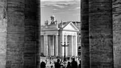 beyond the maternal arms of mother church (khrawlings) Tags: bernini colonnade columns pillars rome vatican peter bw blackandwhite monochrome streetlight lamppost