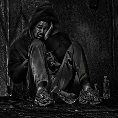 """It Is Hard To Live Surrounded By Spiritual Indifference"", Chinatown, Washington, DC (Gerald L. Campbell) Tags: streetphotography street squareformat spirituality spiritualindifference socialdocumentary alienation aloneness bw blackwhite blackmale citylife community dc digital freedom homelessness homelessnessinamerica homeless indifference injustice inequality justice portraitphotography portrait urbanphotography urban unitedstates washingtondc yearning yeswecan canonsx50hs"
