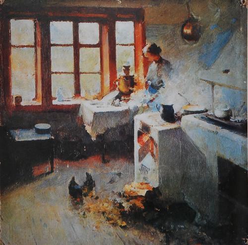 Художник Петро Левченко.  На кухні.