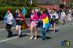 Wigan Pride 2018. (Nikon Ranger) Tags: red wigan pride wiganpride2018 nikonranger nikond3s nikon 2470 lbgt lbgtq colorful street people parade rainbow colour color outside outdoors 2018 flowerpower transgender pansexual pan tran holdinghands