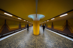 another train has left the station (Özgür Gürgey) Tags: 12mm 2018 d750 hamburg messberg nikon samyang architecture fisheye lines people station subway symmetry