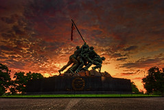 US Marine Corps War (Iwo Jima) Memorial sunrise (paint filter) (cmfgu) Tags: arlington arlingtoncounty virginia va usa us unitedstatesofamerica american northernvirginia sunrise dawn twilight goldenhour clouds sky colorful usmarinecorpswarmemorial iwojimamemorial usmc arlingtonridgepark mountsuribachi battleofiwojima worldwarii wwii joerosenthal sculpture statue flag hdr highdynamicrange paletteknife paintfilter craigfildesfineartamericacom fineartamericacom craigfildespixelscom craigfildesphotography artist artistic photograph photo picture prints art wall canvasprint framedprint acrylicprint metalprint woodprint greetingcard throwpillow duvetcover totebag showercurtain phonecase mug yogamat fleeceblanket spiralnotebook sale sell buy purchase gift